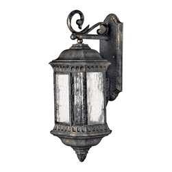 Hinkley Lighting - Hinkley Lighting 1725BG Regal Traditional Outdoor Wall Sconce - Large - Regal has a grand Old World style that features elegant decorative stamped detailing in a Black Granite finish combined with clear seedy water glass for added sophistication