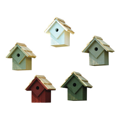 Heartwood - Summer Home Birdhouse Set of Five Multicolored - This  set  of  beautifully  crafted  birdhouses  is  the  perfect  finishing  piece  for  any  yard.  With  select  cypress  construction  and  a  shingled  roof,  the  style  of  this  home  is  exceptional.  Equipped  with  a  copper  covered  cleanout  door  and  a  metal  hanger,  maintenance  is  easy  and  hidden  in  style  and  convenience.  Sold  in  a  pack  of  5,  one  of  each  color.          Product  Details:                  6x8x9              1-1/8  hole              Colors:  whitewashed,  pinion  green,  redwood,  smoke  grey  and  celery              Handcrafted  in  USA  from  renewable,  FSC  certified  wood