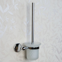 Ballard Wall-Mount Toilet Brush Holder - Made of solid brass with a frosted glass container, the Ballard Collection Wall-Mount Toilet Brush Holder is ideal for a small bathroom or guest bath. Perfect for discreetly hiding your cleaning brush while keeping it close at hand.