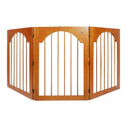 MAJESTIC PET PRODUCTS - Universal Free Standing Pet Gate (Wood insert & Cherry Stain) - While you're housebreaking your pet, or when you want to restrict his access to certain areas of your home, this attractive gate is a great solution. Constructed from solid wood, six- and eight-gauge wire and triple-hinge construction, with double-jointed hinges, this gate can be configured in a C or Z-shaped configuration. No assembly required.
