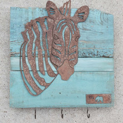 Zebra head (rusted metal) on turquoise wood frame - Made out of steel, mounted on a reclaimed wood.