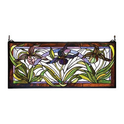 Meyda Tiffany - Meyda Tiffany Meyda Originals Window Sill Tiffany Window Art in Solid Brass - Shown in picture: Lady Slippers Stained Glass Window; Three Elegant Lady Slippers In Shades Of Purple And Green Are Haloed With Forrest Green Leaves Against A Crystalline Sky. This Meyda Tiffany Original Window Is Framed In Solid Brass And Has Brass Mounting Bracket And Chains Included.