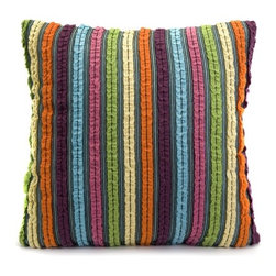 IMAX - Sophie Square Pillow in Multicolor - Features: -Pillow. -Multicolor. -Constructed of 100% cotton. -Filling: 100% Hollow conjugate siliconized fiber. -Features bright stripes design. -Square shape.
