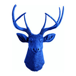 White Faux Taxidermy - The Aksel - Blue Faux Resin Deer Head - Measurements: