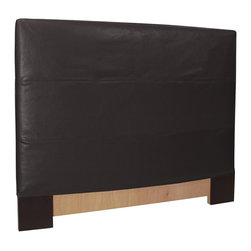 Howard Elliott - Black Faux Leather King Slipcovered Headboard - The Slip covered headboard is constructed with a sturdy wood frame that is padded for maximum comfort, making it solid yet cozy. This piece features a black faux leather cover.