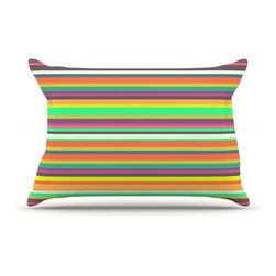 "Kess InHouse - Nandita Singh ""Pattern Play Stripes"" Rainbow Pillow Case, King (36"" x 20"") - This pillowcase, is just as bunny soft as the Kess InHouse duvet. It's made of microfiber velvety fleece. This machine washable fleece pillow case is the perfect accent to any duvet. Be your Bed's Curator."