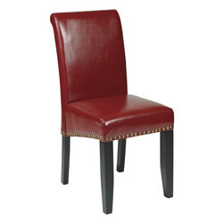 "Office Star Products - Parsons Dining Chair with Nail heads in Crimson Red Eco Leather - Parsons Dining Chair with Nail heads in Crimson Red Eco Leather; Parsons Dining Chair with Nail Heads; Attractive design compliments most any home decor; Upholstered in Crimson red Eco Leather; Solid wood legs in Dark Espresso finish; 20"" seat height; Easy assembly; Dimensions: 17.25""W x 23.75""D x 38""H"