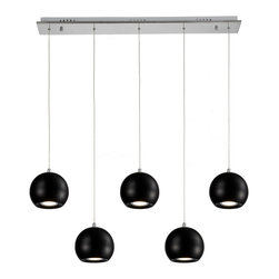 Ohr Lighting® - Ohr Lighting® LED Modern Orb Pendant Light - 5 Pendants, Black/Chrome - Features