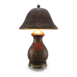 Mottled Multi Colored Crackle Finish Decorative Mini Lamp w/Matching Shade - This multi-colored mini lamp features a mottled finish of brown, gold and green that provides a wonderful accent to your home whether in the bedroom, living room or entryway and is a unique highlight on a sheltered porch perfect to add a glowing touch of light! Made from cast resin with an expertly hand-painted and crackle style finish, this 14.5 inch high, 5 inch diameter (37 X 13 cm) accent lamp includes a matching 5 inch high, 9.25 inch diameter (13 X 23 cm) shade, and one 25 watt Type B bulb. It easily turns on or off via the thumb-wheel switch on the 82 inch long cord. It's perfect for the office, and it's great as a housewarming gift sure to be enjoyed!