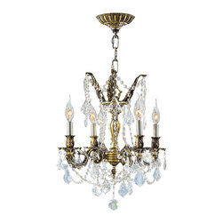 Worldwide Lighting - Worldwide Lighting W83303B17 Solid Brass 4-Light Clear Crystal Chandelier - Worldwide Lighting W83303B17 Solid Brass 4-Light Antique Bronze Finish with Clear Crystal Chandelier
