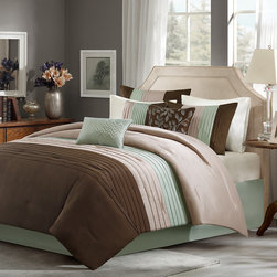 Madison Park - Madison Park Tradewinds 7 Piece Comforter Set - Tradewinds is the perfect way to give your room an update. The colors of brown, taupe and sage green on polyoni are pieced and pleated together to create the comforter and shams. The reverse is made of solid taupe color. The set includes a sage green tailored bed skirt made of soft, brushed microfiber. The set includes three decorative pillows to complete the overall look. Comf & sham face: 100% polyester polyoni pieced with pintuck. Back: 100% polyester microfiber 75gsm solid. Comf with 250gsm poly fill; Pillow: 100% polyester cover with poly fill; Bedskirt: non woven on platform and micro fiber on drop
