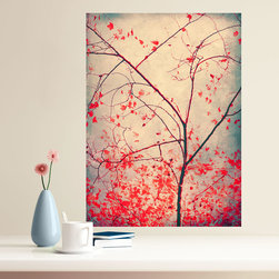 My Wonderful Walls - Tree Photography Decal - Red October by Ingrid Beddoes, Large - - Product: fine art photograph decal of red leaves on a tree