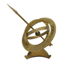 Brass Sundial - Turn up the dial on your home office desk with this decorative Brass Sundial. Fitting for the library or living room in need of a scientific accent, too!