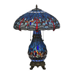 "Meyda Tiffany - Meyda Tiffany 118840 25.5"" H Tiffany Hanginghead Dragonfly Lighted Base Table La - Add radiant elegance to your home with the 25.5"" Height Tiffany Hanginghead Dragonfly Lighted Base Table Lamp by Meyda Tiffany. Show off your personality with this dazzling table lamp utilizing 60 watts per bulb and a bowl shaped shade.Features:"