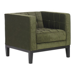 "Armen Living - ""Armen Living Roxbury Arm Chair, Tufted Green Fabric"" - ""A uniquely modern armchair, gorgeously enhanced by sophisticated retro aesthetics, the Roxbury Arm Chair by Armen Living celebrates bold individuality, vibrant youthfulness, sensual refinement, and expert craftsmanship at a fiscally sensible price! The Roxbury Arm Chair by Armen Living conveys pleasure and exudes self expression while resonating with the contemporary chic lifestyle! Assembly level/degree of difficulty: Easy.Arm chair from the roxbury collectionTufted, green colored satin fabricSleek contemporary styleMeasures 32-inch wide by 31-inch deep by 28-1/2-inch highComes with standard 1 year limited warranty"""