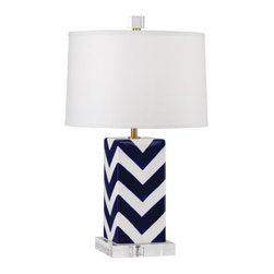 Robert Abbey - Robert Abbey Mary McDonald Santorini Table Lamp 2592 - Blue and White Glazed Ceramic with Satin Brass Finished Accents