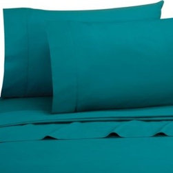 Royale Linens, Inc. - Cotton Percale Sheet Set in Teal - Bold or bright, this simple, yet elegant sheet set will give your bed a modern look with a pop of vibrant color. Soft and smooth to the touch.