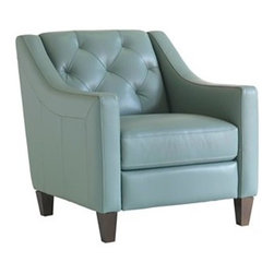 Claudia Living Room Chair - The Claudia chair proves leather upholstery doesn't have to feel heavy or formal.  This beautiful chair is beautifully feminine and would be as at home in the bedroom as it is in a living room.