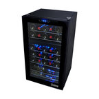 Vinotemp - Vinotemp - 24-Bottle Dual-Zone Touch Screen Wine Cooler - Store your collection in style with this all black 24-Bottle Dual Zone Touch Screen Wine Cooler by Vinotemp. A soft interior light and seamless double paned glass door create a beautiful display that is sure to impress guests.