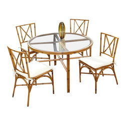 Home Styles - Home Styles Bimini Jim 5 Piece Dining Set in a Light Natural Finish-42 Inch Tabl - Home Styles - Patio Dining Sets - 5565308 - A unique take on bamboo style the Bimini Jim 5 Piece Dining Set by Home Styles is constructed of extruded aluminum in a light natural finish. Set includes: One (1) table and Four (4) Chairs.