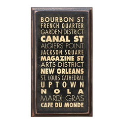 "CrestField - New Orleans Points of Interest Decorative Vintage Style Wall Plaque / Sign - This vintage style wall plaque is hand made to commemorate the beautiful city of New Orleans. The pine board has a quarter round routed edge and is sized at 7.25"" x 13"" x .75"". The surface is finished with my ""flatter than satin"" poly finish with a saw tooth hanger on the back. Would look great in any decoration project, home or office."