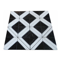 "GL STONE - Carrara White Marble Triangle with Gray Strip Mosaic Tile, Black and White - Carrara White with Black Marble Mosaic Tile comes with polished surface and looks like triangle shaped. Our marble wall & floor Tiles are perfect choices to enhance the interior decor, such as bathroom wall, kitchen back splash, surround wall, gust room floor etc. It will sell by 12"" X 12"", 1 square feet per sheet. The color also use the popular carrara white with black. It is special and popular tile for interior design."