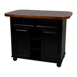 Sunset Trading - Sunset Trading Small Tile Top Kitchen Island - Black & Cherry - PK-KI-TT-05-BCH- - Shop for Kitchen Islands from Hayneedle.com! Enhance the beauty and warmth of your kitchen with the Sunset Trading Small Tile Top Kitchen Island - Black & Cherry. The hand-crafted solid wood kitchen island features a rich black and cherry finish on its base with a khaki-colored ceramic tile top. Versatile in style this piece complements traditional country and cottage decor. It's perfect for preparing large meals or serving drinks and appetizers when entertaining guests. In addition the sliding countertop conveniently converts this island into a breakfast bar perfect for casual quick dining accommodating seating for two people. For storage it includes two spacious large drawers for dining linens and utensils. Two doors underneath open to reveal an adjustable shelf for convenient access. Dimensions: 47L x 31.5W x 36H inches.About Sunset TradingThis product is designed and manufactured by Sunset Trading. Located in Londonderry New Hampshire Sunset Trading creates high quality furniture for bedrooms living and dining rooms. Their furniture features side roller drawer guides four corner English dovetails solids and veneers. Dining rooms feature epoxy resin constructed chairs with metal support brackets which make their chairs 100 times stronger than glued chairs. Rest assured you're making an excellent choice when you purchase a fine furniture item from Sunset Trading.