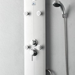 "Fresca - Fresca Novara PVC Silver Shower Massage Panel - Receive a massage on demand with the Fresca Novara Shower Massage Panel, model # FSP8010SL. Featuring six swiveling massage jets, a large rainfall shower head, a handheld sprayer and a tub-filling spigot, this H 59"" x W 10"" x D 18"" shower massager hits all the right places. A master control lets you select the perfect water pressure and temperature for each feature. Sturdy, waterproof PVC construction provides durability, and a sleek silver finish with an inset mirror provides style and sophistication."