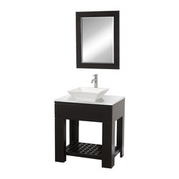 Wyndham Collection - Modern Bathroom Vanity Set - Includes white porcelain sink, glass top and matching mirror. Faucet not included. Floor-standing vanity. Perfect for a small bathroom or powder room application. Sturdy high-quality construction. Single-hole faucet mount. One drawer deep doweled drawer. Side-mount drawer slides. Towel and sundries storage shelf. Pure white stunning glass counter. No external hardware. Eight stage painting and finishing process. Mirror glass thickness: 1 in.. Warranty: Two years limited. Made from beautiful natural wood veneers over highest quality grade E1 MDF. Espresso finish. Mirror: 24 in. W x 28 in. H. Vanity: 30 in. W x 24 in. D x 36 in. H (125 lbs.). Installation InstructionsThe Zen II Modern Bathroom vanity is as solid as it is stylish.