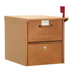 Salsbury Industries - Salsbury Roadside Mailbox - Enhance your homes curb appeal with this stylish Salsbury roadside mailbox that is crafted from durable aluminum with a copper finish. This United States Postal Service approved mailbox has two locking doors and an outgoing mail tray.