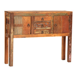 Nantucket 2 Door, 3 Drawer Console, Medium Brown - The Nantucket 2-Door, 3-Drawer Console brings character and rustic appeal to the home. It is hand-built from reclaimed hardwoods and finished in a sealed medium brown with highly distressed accents. Each drawer and door is finished with an antiqued ring pull to complete the old world look. With a linear design, strong lines and angles, this console will not only go great in your dining room, but is versatile enough to work anywhere in your home. Perfect for small storage and for showing off a favorite sculpture or painting, this console is a lovely and charming choice.