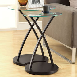 Monarch - Cappuccino Bentwood 2Pcs Nesting Table Set - With circular tempered glass tops, this 2 piece nesting table set gives a contemporary look to any room. Its beautifully stained cappuccino in. bentwood in. legs provide sturdy support as well as an elegant look. Use this multi- functional set as end tables, lamp tables, decorative display tables, or simply accent pieces.