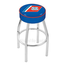 "Holland Bar Stool - Holland Bar Stool L8C1 - 4 Inch U.S. Coast Guard Cushion Seat - L8C1 - 4 Inch U.S. Coast Guard Cushion Seat w/ Chrome Base Swivel Bar Stool belongs to Military Collection by Holland Bar Stool Made for the ultimate sports fan, impress your buddies with this knockout from Holland Bar Stool. This contemporary L8C1 logo stool has a single-ring chrome base with a 4"" cushion for a fashion that says ""sleek and simple"". Holland Bar Stool uses a detailed screen print process that applies specially formulated epoxy-vinyl ink in numerous stages to produce a sharp, crisp, clear image of your desired logo. You can't find a higher quality logo stool on the market. The plating grade steel used to build the frame is commercial quality, so it will withstand the abuse of the rowdiest of friends for years to come. The structure is triple chrome plated to ensure a rich, deep finish that will last ages. Construction of this framework is built tough, utilizing only solid mig welds. If you're going to finish your bar or game room, do it right- with a Holland Bar Stool. Barstool (1)"