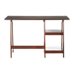 Holly & Martin - Holly & Martin Gavin Desk in Espresso - Sitting area is 24 in. wide. Made from MDF with veneer and hardwood legs. Top Shelf: 13 in. W x 13 in. D x 9 in. H. Bottom Shelf: 13 in. W x 15.5 in. D x 11 in. H. 47 in. W x 20 in. D x 29 in. H (38.1 lbs.). Assembly InstructionsCrafted with simplicity in mind, this espresso desk has a stylistic expression all it's own. The top is dressed with an exquisite veneer that is full of wonderful grain and character. The frame is built with durable hardwood legs in an A-frame shape. The left side of the desk features two sturdy shelves for decoration and accessories. Perfect for home office, entry, or living room this rich desk is sure to bring compliments.