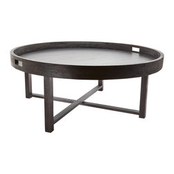 Lazy Susan - Round Black Teak Coffee Table Tray - -Weight (lbs.): 18