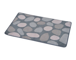 Printed Microfiber Bath Rug Spa Grey - This printed microfiber bath rug SPA is 100% polyester. Ultra-soft touch and sophisticated in any bathroom with its pebbles pattern, this bath rug prevents slips with its PVC non-skid backing. Machine wash cold and no dryer. Width 17-Inch and length 29.5-Inch. Indoor use only. Color grey. Add underfoot softness and a perfect finishing touch to your bathroom decor with this trendy microfiber bath rug! Complete your SPA decoration with other products of the same collection. Imported.
