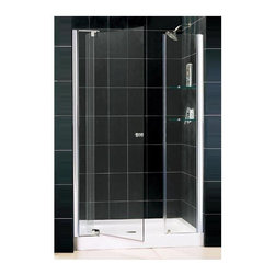 Dreamline - Allure Adjustable Pivot Glass Shower Door in Chrome (Large) - Choose Size: Large. Includes stationary side panel with two integrated glass shelves. Base not included. Unique adjustable pivot door. Reversible for right or left hand installation. Anodized aluminum profiles. ANSI certified. Made from aluminum and 0.38 in. thick tempered glass. Small: 42 - 49 in. W x 73 in. H. Large: 48 - 55 in. W x 73 in. H. Warranty. Installation Manual. Marketing Brochure