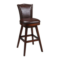 """Pastel Furniture - Pastel Furniture Colina 30 Inch Swivel Barstool - The Colina is a beautifully crafted wood barstool that features a quality finish in Russet Cordovan wood with sturdy legs and foot rest. This barstool has a simple yet elegant design that is perfect for any decor. The padded seat is upholstered in Bonded Leather Stenna Brown offering comfort and style. Available in 26"""" counter height or 30"""" bar height."""