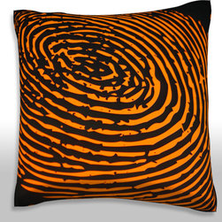 Custom Photo Factory - Fingerprint Orange Pillow.  Polyester Velour Throw Pillow - Fingerprint Orange Pillow. 18 Inches x 18 Inches  Made in Los Angeles, CA, Set includes: One (1) pillow. Pattern: Full color dye sublimation art print. Cover closure: Concealed zipper. Cover materials: 100-percent polyester velour. Fill materials: Non-allergenic 100-percent polyester. Pillow shape: Square. Dimensions: 18.45 inches wide x 18.45 inches long. Care instructions: Machine washable