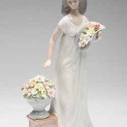 CG - 10 Inch Ceramic Lady In White Dress Holding Basket Freshening Flowers - This gorgeous 10 Inch Ceramic Lady In White Dress Holding Basket Freshening Flowers has the finest details and highest quality you will find anywhere! 10 Inch Ceramic Lady In White Dress Holding Basket Freshening Flowers is truly remarkable.