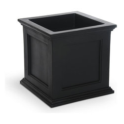 """Mayne Inc. - Fairfield Patio Planter 20x20 Black - Have the look of wood without the upkeep with our high-grade polyethylene planters. Long-lasting beauty, durability and quality.  Built-in water reservoir encourages healthy plant growth by allowing plants to practically water themselves. Beautiful New England design adds a charming touch to any patio or deck. Our molded plastic planters are made from high-grade polyethylene, double wall design. Sub-irrigation water system, encourages root growth. Inside dimensions are 15.5""""L x 15.5""""W x 13""""D, approximately 9.5 gallon soil capacity, water capacity is approximately is 8.75 gallons (33 litres)."""