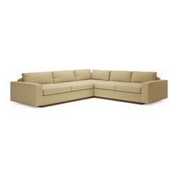 True Modern - Jackson Corner Sectional, Marlow Plum - This modern corner sectional is seriously sophisticated. The low-slanted back and oversized seats make it a perfect sofa for you to lounge around solo or for a big crowd. Wrapped in a blend of feathers and down, this sectional is meant for boundless relaxation.