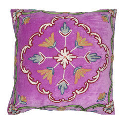 Crewel Fabric World - Crewel Pillow Flores Purple Cotton Velvet 16x16 Inches - Hand embroidered with 100% wool on cotton base