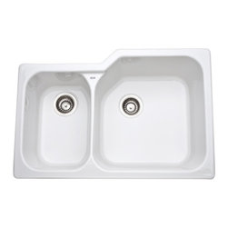 Rohl 6339-00 Rohl Allia Fireclay 2 Bowl Undermount Kitchen Sink - rohl sink
