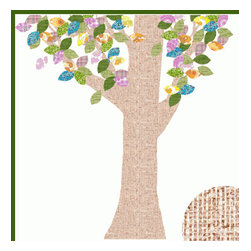 Inke Heiland Mei Tree Decal - These wallpaper fabric trees from Inke are always a favorite in my clients' rooms. This decal is wonderfully oversized and customizable as far as the placement of the leaves.