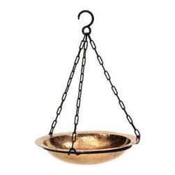 "Achla - Hammered Copper Bird Bath w Rim - Light radiates from the golden shimmer of this bird bath, as its polished copper emanates a delightful glow yet its hand hammered dimples provide stylish texture and personality.  A gorgeous garden accessory whether hanging from a structure or standing amidst nature. * Light radiates from the golden shimmer of this bird bath, as its polished copper emanates a delightful glow yet its hand hammered dimples provide stylish texture and personality. A gorgeous garden accessory whether hanging from a structure or standing amidst nature. Hand hammered polished copper12"" dia.. Couple your birdbath w any of our stylish Birdbath Stands"