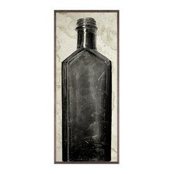 Kathy Kuo Home - Copper River Industrial Loft Bottle Black White Photo Wall Art - F - Framed - Pour yourself a long drink of high style with this stunning print. A grainy, high-contrast photograph of a 200-year-old bottle discovered during an Alaskan excavation dig, this piece adds rich history and contemporary edge to any space.