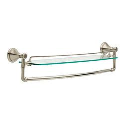 Delta Cassidy 24″ Glass Shelf with Bar - Delta Cassidy 24″ Glass Shelf with Bar, Brilliance® Stainless Finish, 79711-SS
