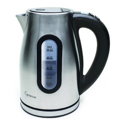 Capresso - Capresso H2O Pro Water Kettle - The Capresso H20 programmable cordless water kettle with variable temperature control features 56 oz. capacity, auto shut-off, and a brushed stainless steel housing.