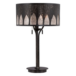 Quoizel - Quoizel Dark Bronze w/ Antique Gold Lamps - SKU: MC1691TIB - The Vega series is gothic-inspired design combined harmoniously with natural elements. The mica shade features a metal overlay in a grove-like pattern and the imperial bronze finish completes the look. It is available in a table lamp or pendant.